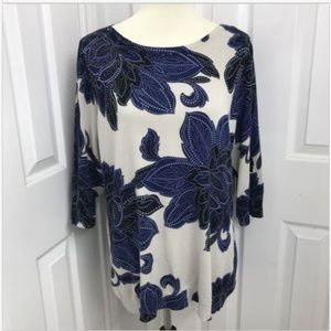 Plus Size 2X Tan Blue Floral Sweater 3/4 Sleeve